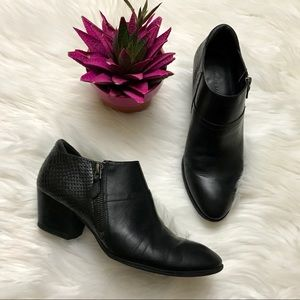 Franco Sarto Black Leather Zip Booties